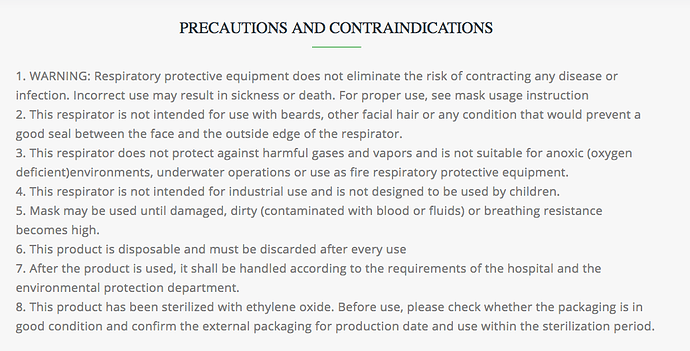 FFP3:N95 manufacturers precautions
