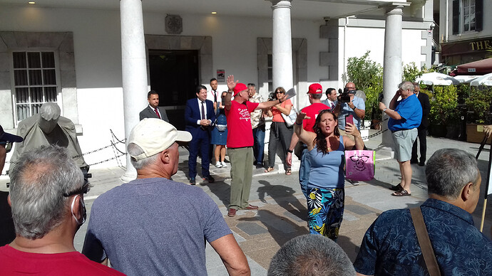 Enough is Enough Gibraltar Demonstration 2020 Picardo confronted