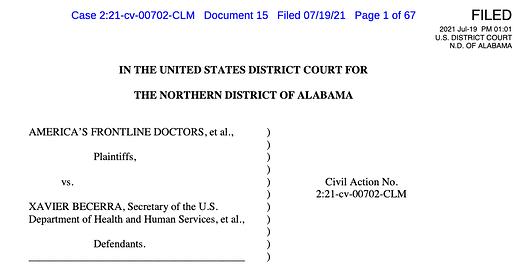 America's Frontline doctors Court documents : Thomas Renz