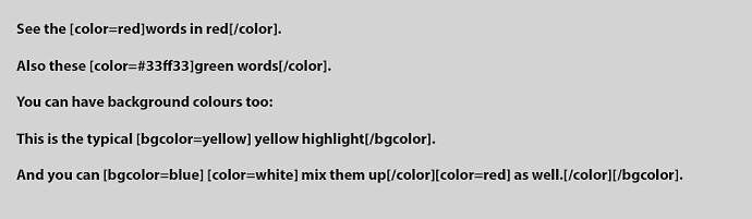 BBcolour codes