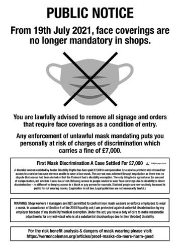Public Notice Face Masks Discrimination