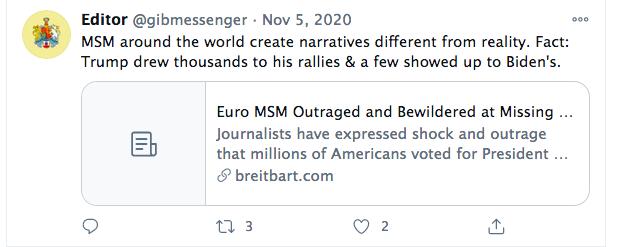 Breitbart tweet on election