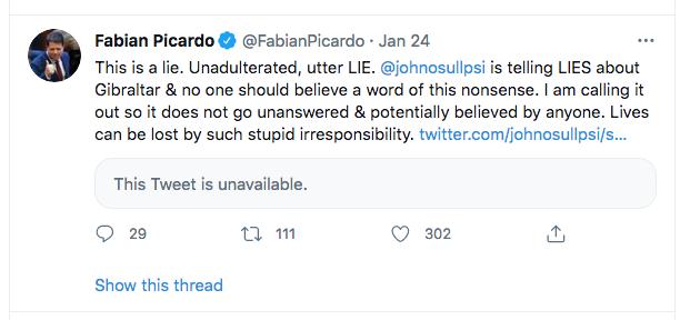 Picardo tweet on John OSullivan of PS
